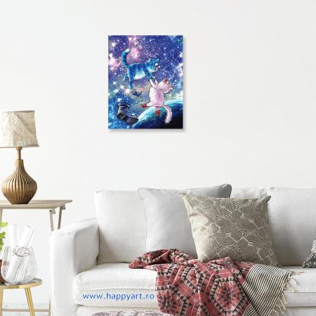 Set pictura pe numere, cu sasiu, Pisici - Din Univers, 30x40 cm, 27 culori [2]