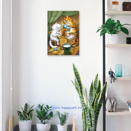 Set pictura pe numere, cu sasiu, Pisici - Familie Fericita, 30x40 cm, 24 culori [3]