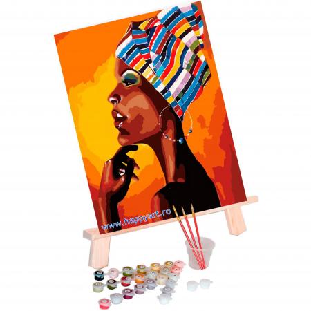 Set pictura pe numere, cu sasiu, Portretul unui African, 40x50 cm, 24 culori [1]