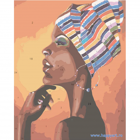 Set pictura pe numere, cu sasiu, Portretul unui African, 40x50 cm, 24 culori [7]