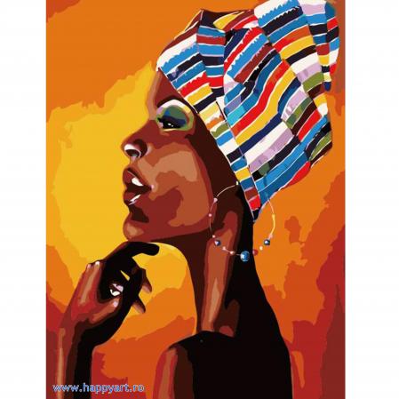 Set pictura pe numere, cu sasiu, Portretul unui African, 40x50 cm, 24 culori [0]