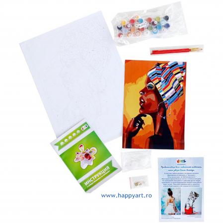 Set pictura pe numere, cu sasiu, Portretul unui African, 40x50 cm, 24 culori [6]
