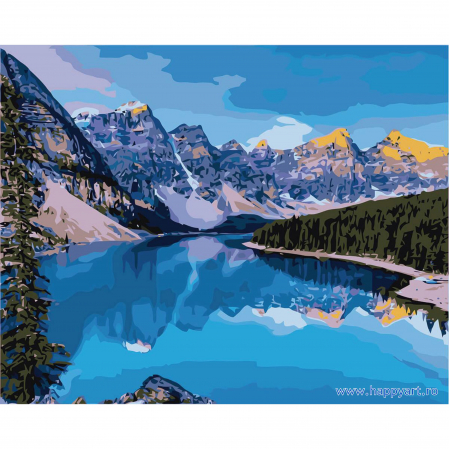 Set pictura pe numere, cu sasiu, Rau de Munte, 40x50 cm, 24 culori [0]