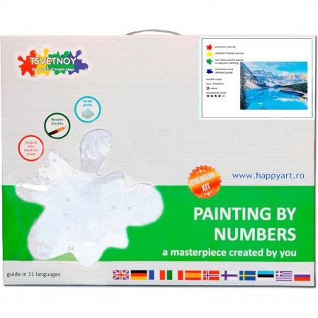 Set pictura pe numere, cu sasiu, Rau de Munte, 40x50 cm, 24 culori [3]