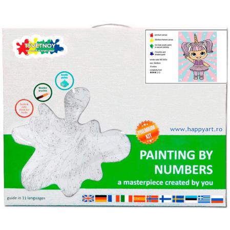 Set pictura pe numere, cu sasiu, Fetita in Rochie de Unicorn, 20x30 cm, 19 culori [3]