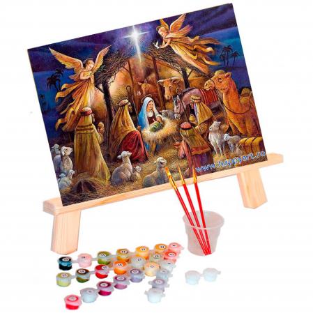 Set pictura pe numere, cu sasiu, Tabloul Nasterii, 40x50 cm, 24 culori [1]