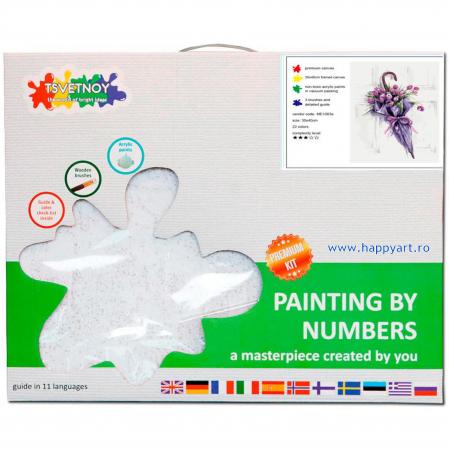Set pictura pe numere, cu sasiu, Umbrela de Flori, 30x40 cm, 22 culori [3]
