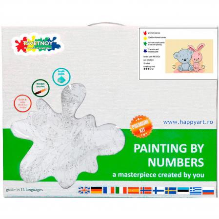 Set pictura pe numere, cu sasiu, Micul Ursulet si Micul Iepuras, 20x30 cm, 19 culori [3]