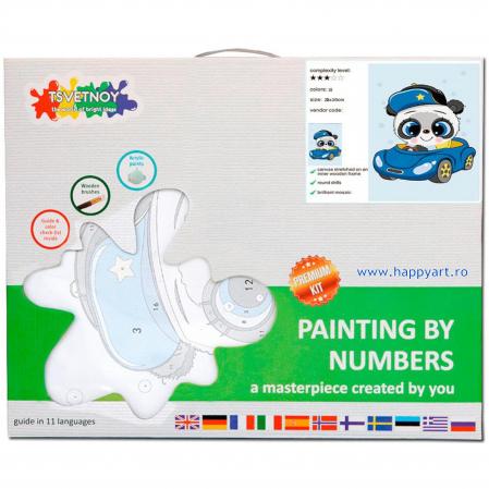 Set pictura pe numere, cu sasiu, Micul Panda, 20x30 cm, 18 culori [3]
