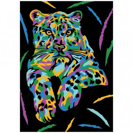 TIGRU, Set creativ, pictura cu nisip colorat, 1 plansa 23,5 x 33 cm, 22 tuburi nisip multicolor, 1 penseta, 1 folie protectie, pentru 10 – 99 ani2