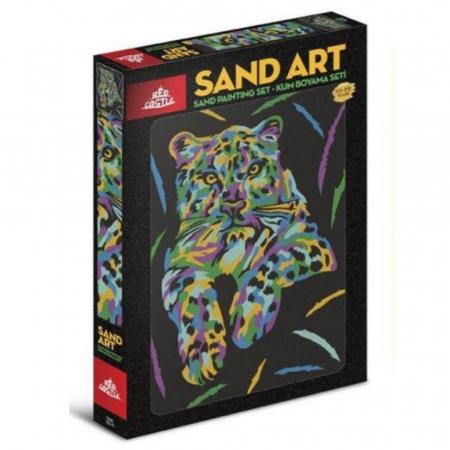 TIGRU, Set creativ, pictura cu nisip colorat, 1 plansa 23,5 x 33 cm, 22 tuburi nisip multicolor, 1 penseta, 1 folie protectie, pentru 10 – 99 ani0
