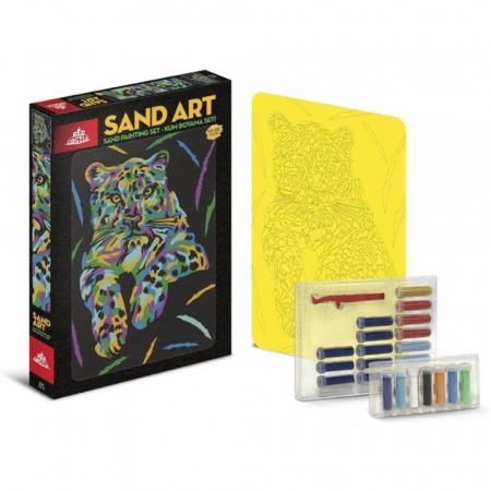TIGRU, Set creativ, pictura cu nisip colorat, 1 plansa 23,5 x 33 cm, 22 tuburi nisip multicolor, 1 penseta, 1 folie protectie, pentru 10 – 99 ani1