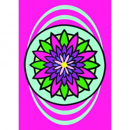 MANDALA floare, Set creativ Pictura cu nisip colorat, 1 plansa 21 x 29,7 cm, 10 plicuri nisip multicolor, 1 betisor, 1 folie protectie, + 3 ani0