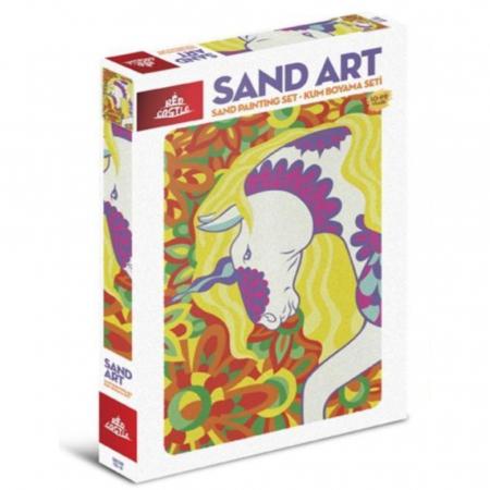 UNICORN, Set creativ, pictura cu nisip colorat, 1 plansa 23,5 x 33 cm, 22 tuburi nisip multicolor, 1 penseta, 1 folie protectie, pentru 10 – 99 ani0