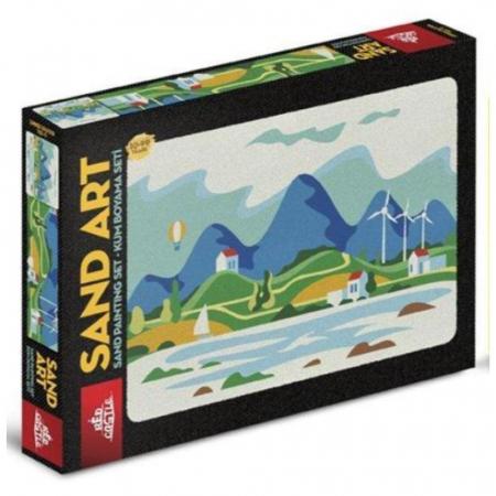 VACANTA DE VARA, Set creativ, pictura cu nisip colorat, 1 plansa 23,5 x 33 cm, 22 tuburi nisip multicolor, 1 penseta, 1 folie protectie, pentru 10 – 99 ani0