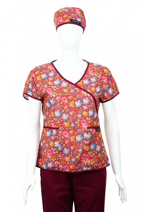 Bluză Compleu - Designer Print - Bordeaux Flowers 46 [1]