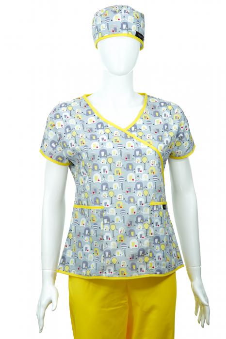 Bluză Compleu - Designer Print - Elefănței Gri 36 1