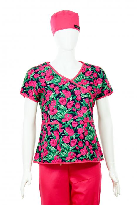 Bluză Compleu - Designer Print - Pink Flowers 1