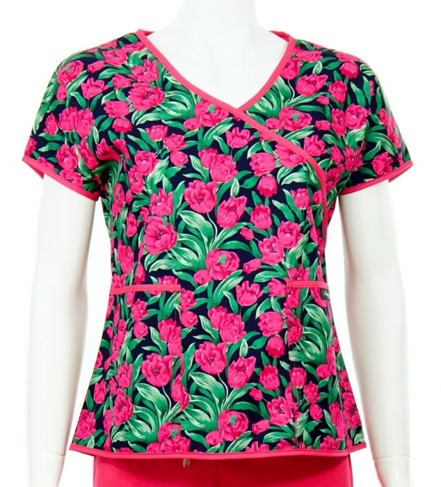 Bluză Compleu - Designer Print - Pink Flowers [0]