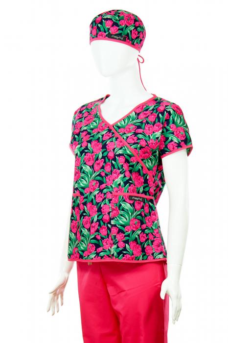 Bluză Compleu - Designer Print - Pink Flowers [2]