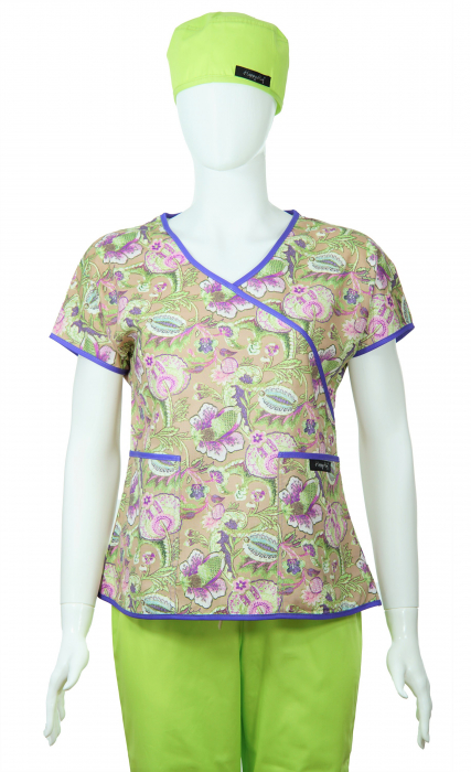 Bluză Compleu - Designer Print -  Purple Flower [1]