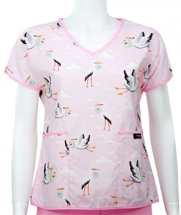 Bluza compleu - Berze cu bebelusi roz 0