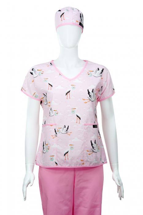 Bluza compleu - Berze cu bebelusi roz 1