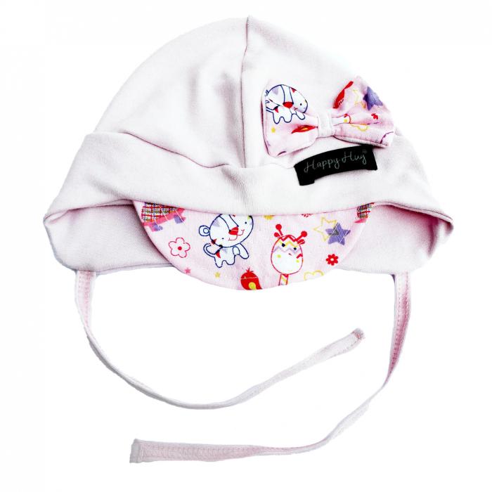 Căciulă Bumbac - Pink Animals 0