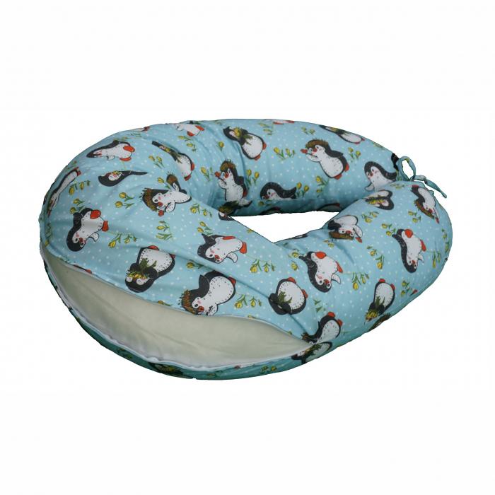Husă detașabilă pernă de alăptare pinguini bleu 0