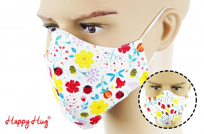 Mască Textilă - Buburuze cu Flori [0]
