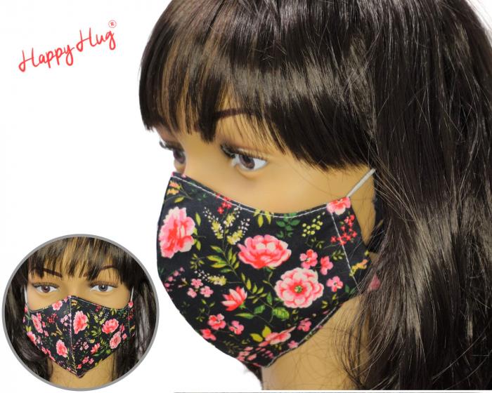 Mască Textilă - Bujori pe fond negru [0]