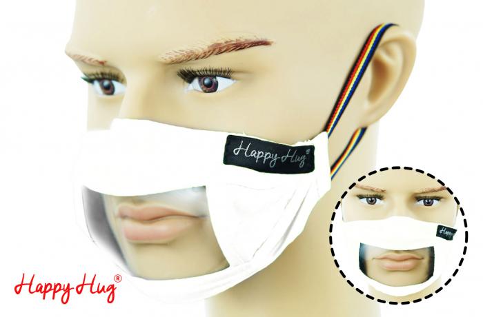 Mască Textilă cu Insert Transparent – Alb [0]