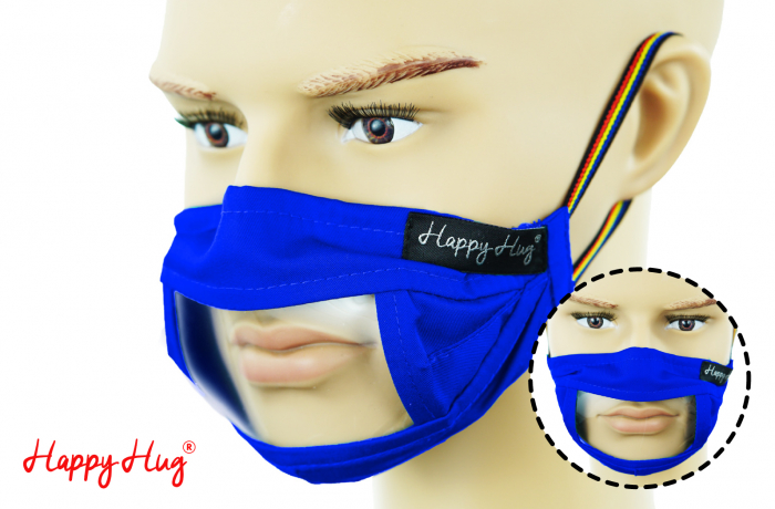 Mască Textilă cu Insert Transparent – Albastru [0]