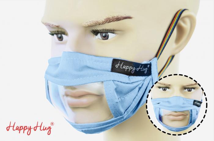 Mască Textilă cu Insert Transparent – Bleu 0