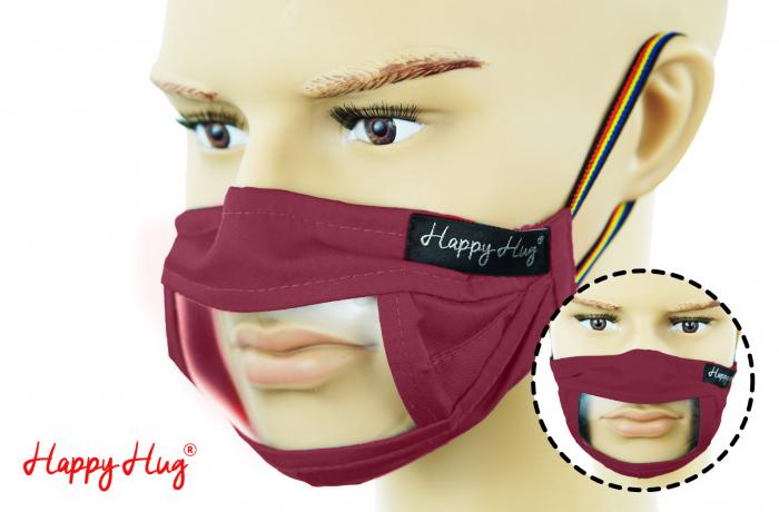 Mască Textilă cu Insert Transparent - Bordeaux 0