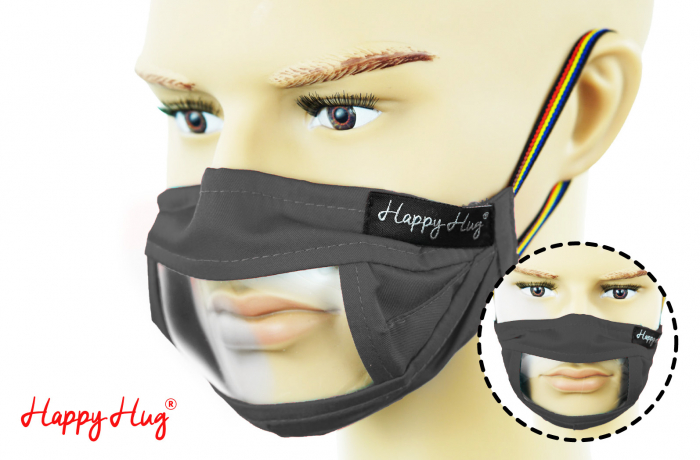 Mască Textilă cu Insert Transparent - Gri 0