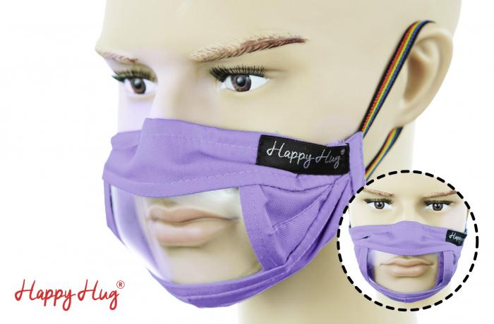 Mască Textilă cu Insert Transparent - Mov 0