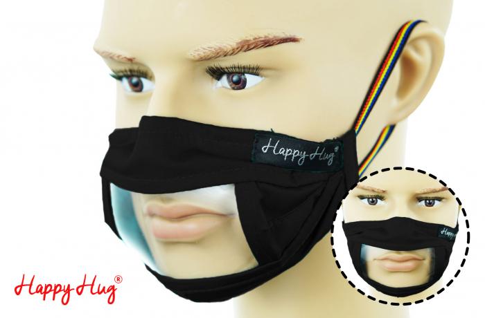 Mască Textilă cu Insert Transparent – Negru 0