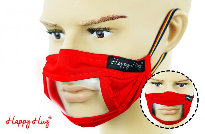 Mască Textilă cu Insert Transparent – Rosu 0