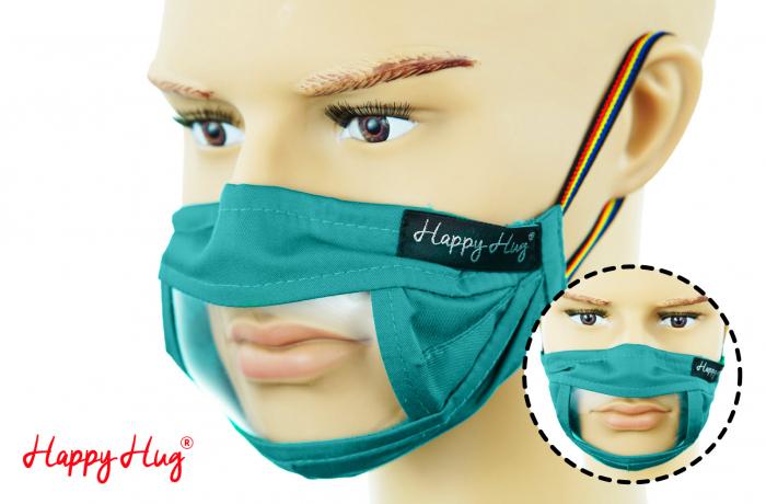 Mască Textilă cu Insert Transparent - Teal 0