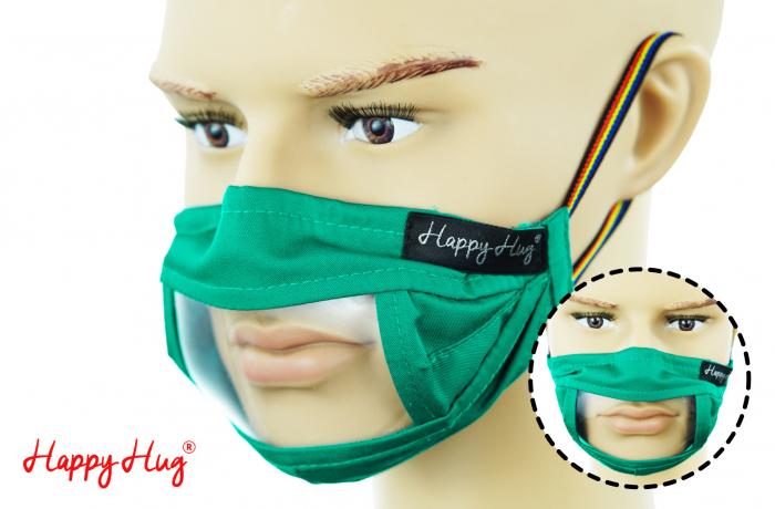 Mască Textilă cu Insert Transparent – Verde [0]