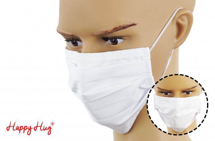Mască Textilă cu Pliuri - Alb 0