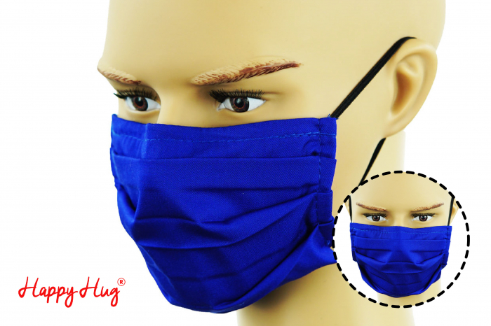 Mască Textilă cu Pliuri - Albastru [0]