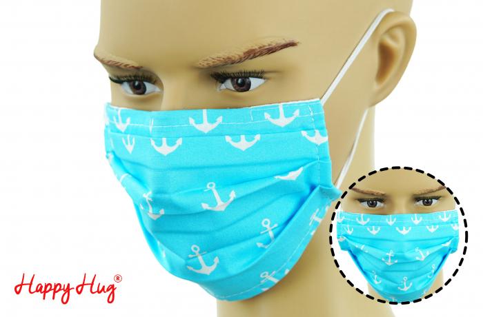 Mască Textilă cu Pliuri - Ancore Turcoaz [0]