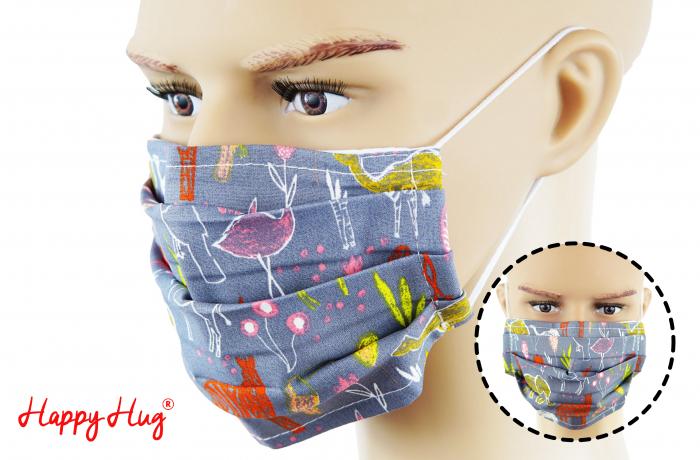 Mască Textilă cu Pliuri - Animăluțe Desenate Gri 0