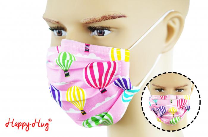 Mască Textilă cu Pliuri - Baloane Roz 0