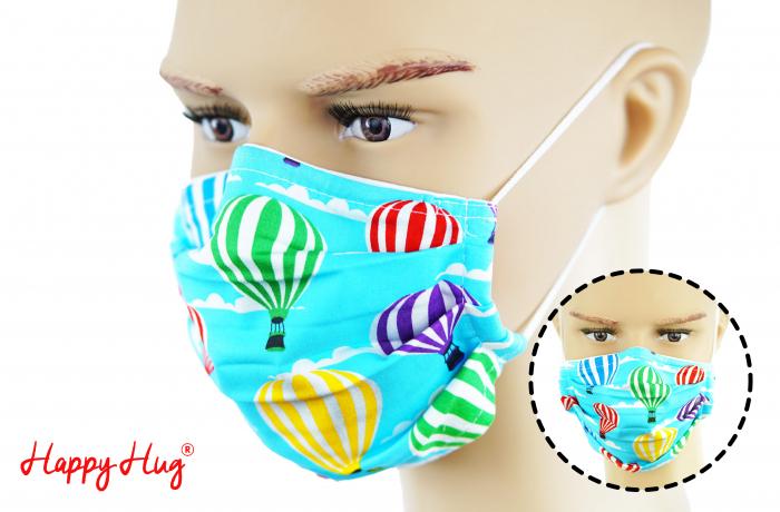 Mască Textilă cu Pliuri - Baloane Turcoaz [0]
