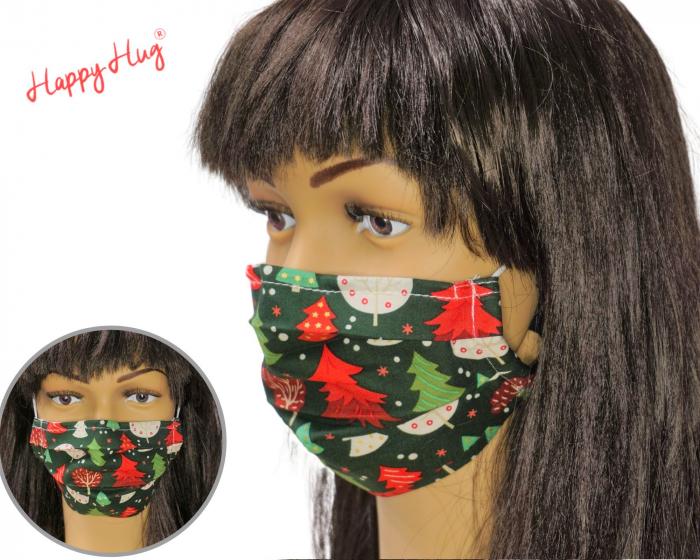 Mască textilă cu pliuri - Braduti fond verde  0