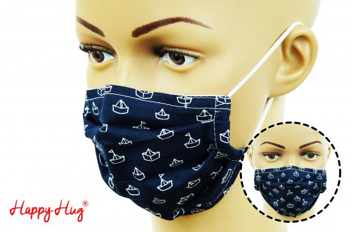Mască Textilă cu Pliuri - Bărcuțe Bleumarin 0