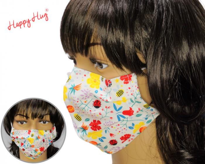 Mască Textilă cu Pliuri - Buburuze cu flori [0]